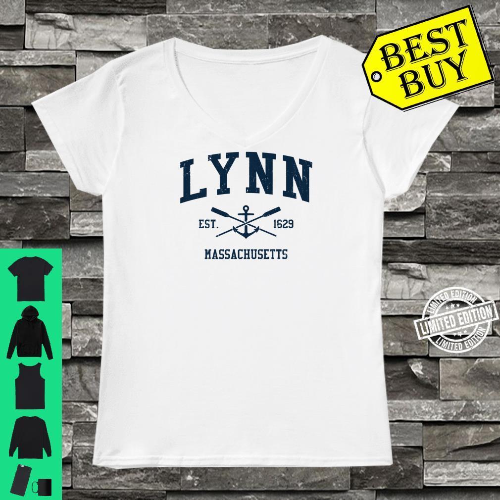 Lynn MA Vintage Navy Crossed Oars & Boat Anchor Shirt ladies tee
