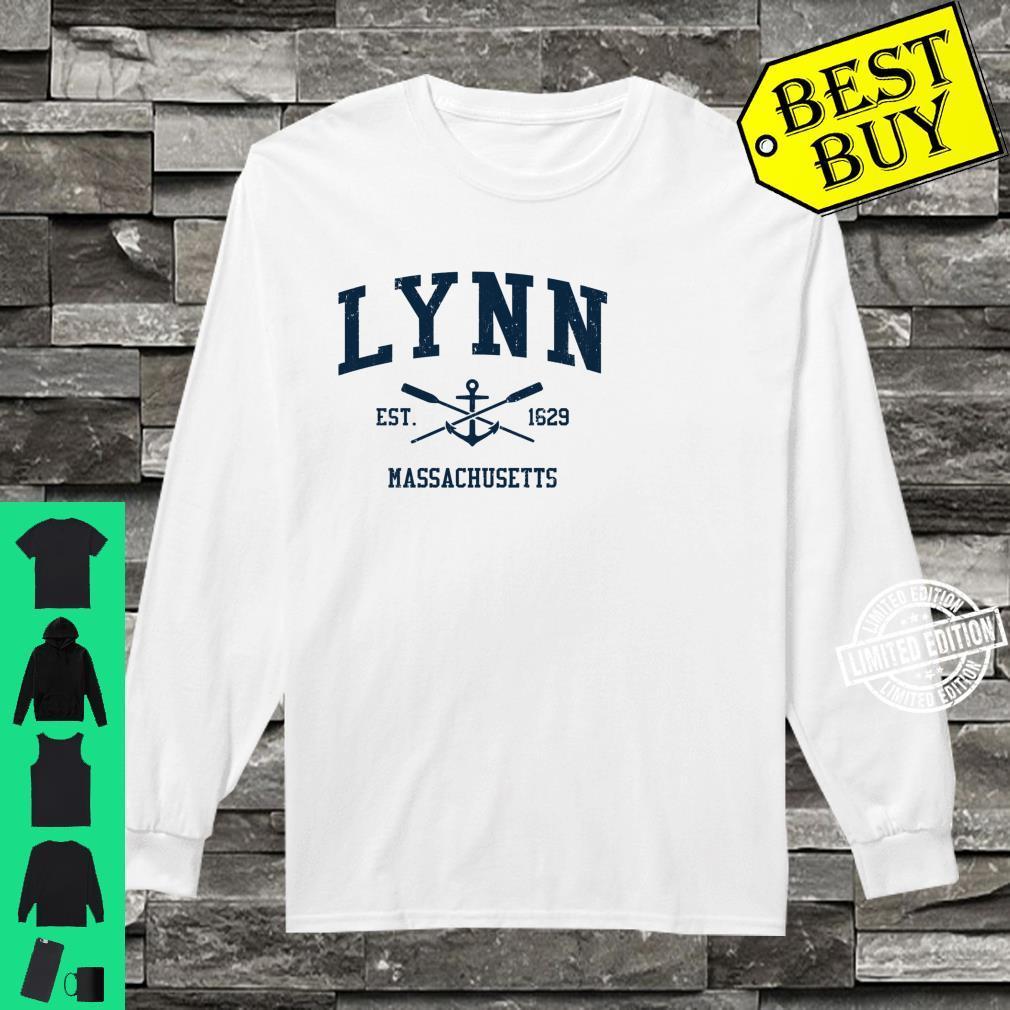 Lynn MA Vintage Navy Crossed Oars & Boat Anchor Shirt long sleeved