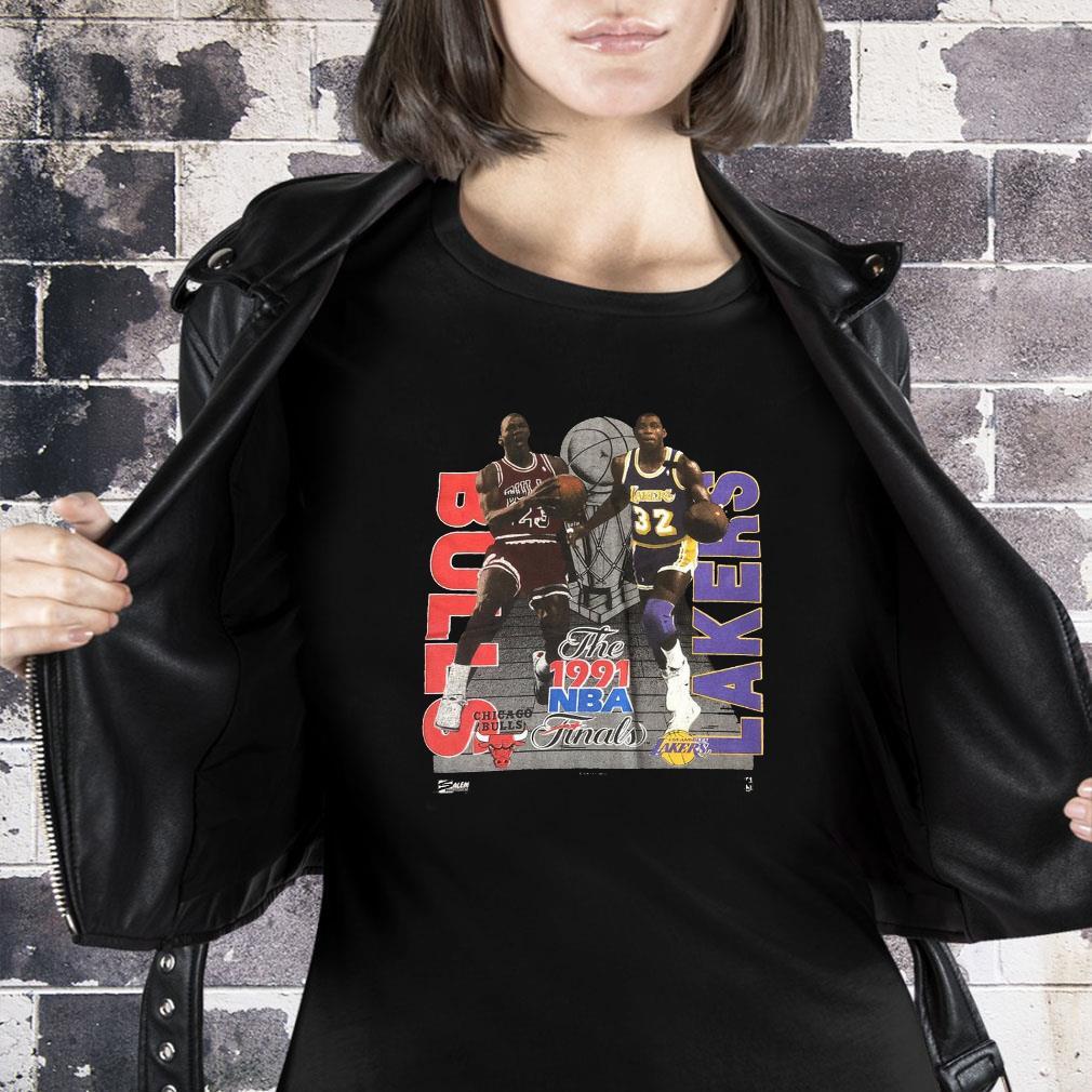 Vintage 1991 NBA Finals MICHAEL JORDAN Magic Johnson T-Shirt ladies tee
