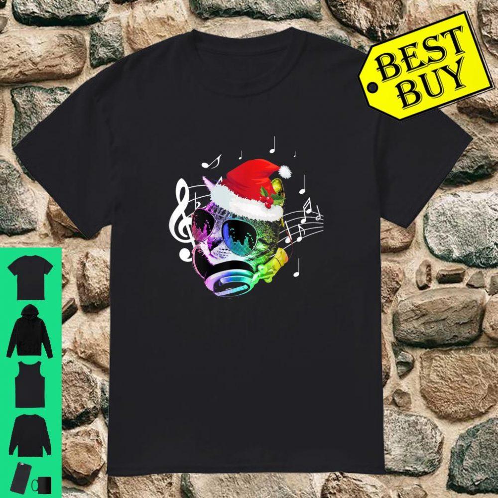 Colorful Rainbow DJ Music Kitty Cat Christmas Santa shirt