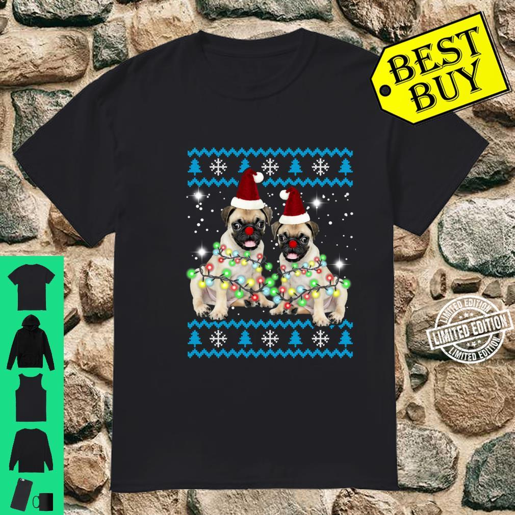 Pug Christmas Lights Shirt Puppy Dog Santa Xmas Shirt