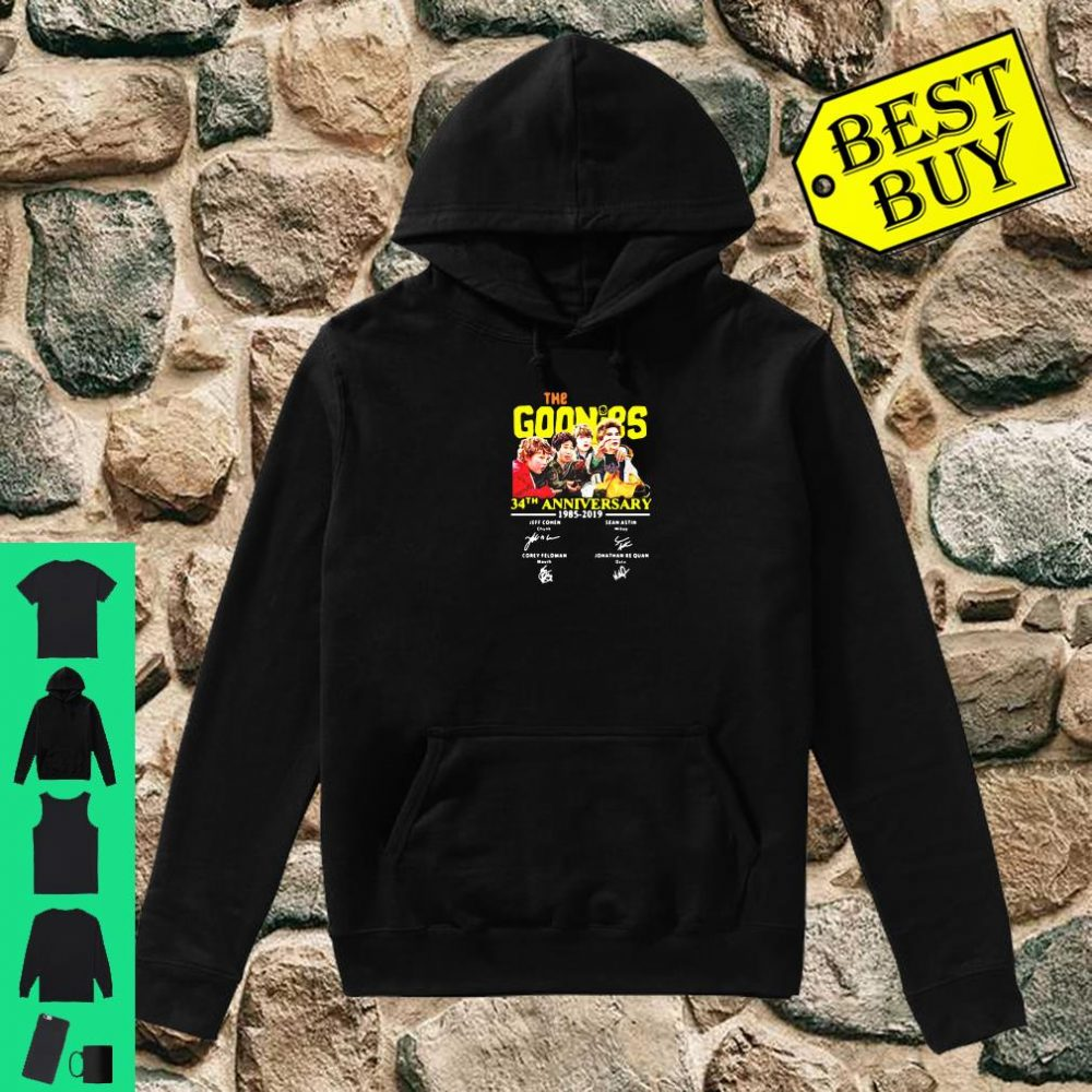 The goonies 34th anniversary 1985 2019 signature shirt hoodie