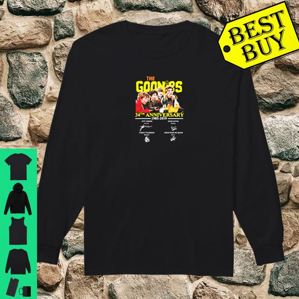The goonies 34th anniversary 1985 2019 signature shirt long sleeved